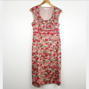 Boden | Sleeveless Tulip Floral Dress Red Pink